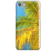 Palm leaves on a background of blue sky iPhone Case/Skin