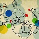 birds ink drawing by Randi Antonsen