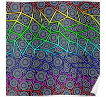 Rainbow Geometric Zig Zag Circle Pattern  Poster