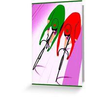 WOMENS TRACK BICYCLE: Racing Print Greeting Card