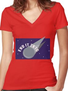 End It 2K16 Meteor Women's Fitted V-Neck T-Shirt