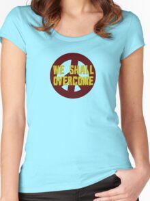 we shall overcome hippie hippies jimi hendrix bob dylan jim morrison joan baez janis joplin song lyrics peace sign love t-shirts Women's Fitted Scoop T-Shirt