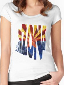 Arizona Typographic Map Flag Women's Fitted Scoop T-Shirt