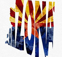 Arizona Typographic Map Flag by A. TW