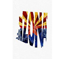 Arizona Typographic Map Flag Photographic Print