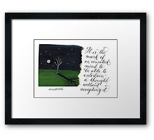 An educated mind Inspirational Aristotle quote Framed Print