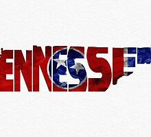 Tennessee Typographic Map Flag by A. TW