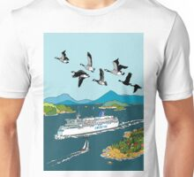 Canadian Geese flying over a ferry Unisex T-Shirt