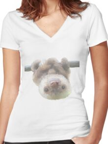 sloth on a vine Women's Fitted V-Neck T-Shirt