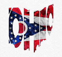 Ohio Typographic Map Flag by A. TW