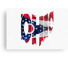 Ohio Typographic Map Flag Metal Print
