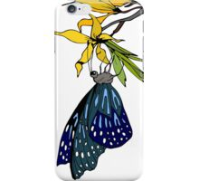 Blue dotted butterfly on blooming branch iPhone Case/Skin