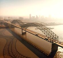 Hernando de Soto Bridge in Memphis by BravuraMedia