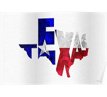 Texas Typographic Map Flag Poster