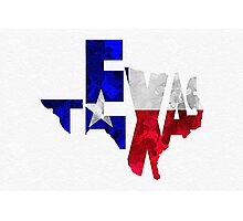 Texas Typographic Map Flag Photographic Print