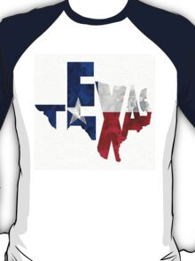 Texas Typographic Map Flag T-Shirt