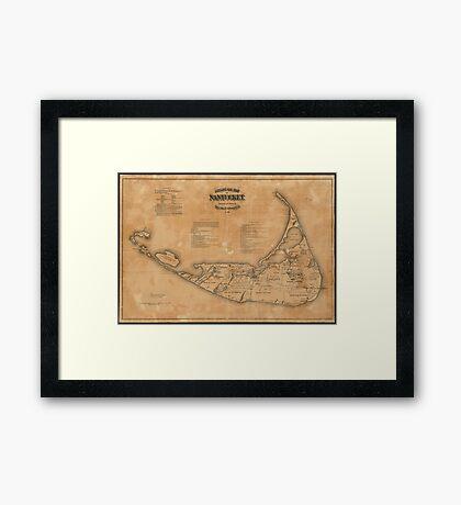 Vintage Map of Nantucket (1869) Framed Print