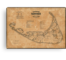Vintage Map of Nantucket (1869) Canvas Print