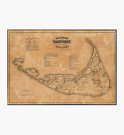 Vintage Map of Nantucket (1869) Photographic Print