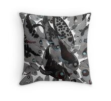 feeding fish Throw Pillow