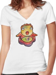 Cute Ponyo! Studio Ghibli Women's Fitted V-Neck T-Shirt