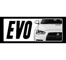 Mitsubishi Evolution (EVO) Logo [White] Photographic Print