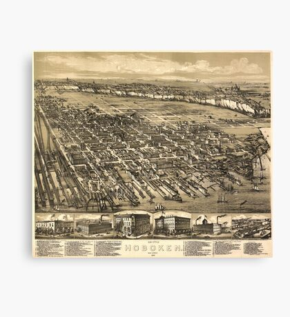 Vintage Pictorial Map of Hoboken NJ (1881) Canvas Print