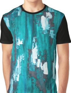 Teal Blue Abstract Art Graphic T-Shirt