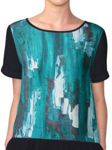 Teal Blue Abstract Art Chiffon Top