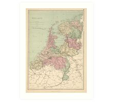 Vintage Map of Holland (1873)  Art Print