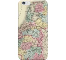 Vintage Map of Holland and Belgium (1856)  iPhone Case/Skin