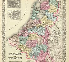 Vintage Map of Holland and Belgium (1856)  by BravuraMedia