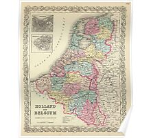 Vintage Map of Holland and Belgium (1856)  Poster