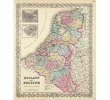Vintage Map of Holland and Belgium (1856)  Photographic Print