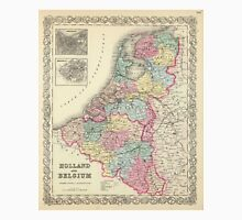 Vintage Map of Holland and Belgium (1856)  Unisex T-Shirt