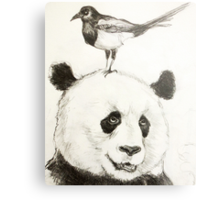Panda and the Magpie Metal Print