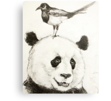Panda and the Magpie Canvas Print