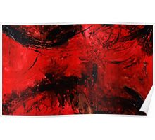 Red Black Abstract Painting Poster