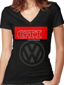 Volkswagen GTI Graphic Design Women's Fitted V-Neck T-Shirt