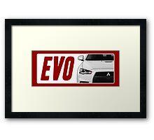 Mitsubishi Evolution (EVO) Logo [White Transparent] Framed Print