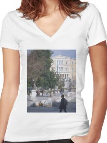 Athens street scene Women's Fitted V-Neck T-Shirt