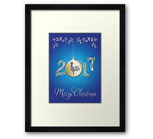 Christmas Greeting Card 2017 with rooster. Framed Print