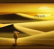 The caravan in the desert  by Monika Juengling