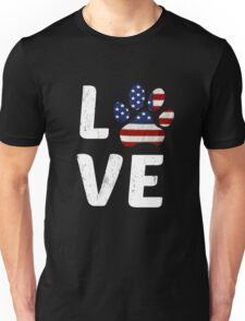 Patriotic American Flag Dog Love Paw Print Unisex T-Shirt