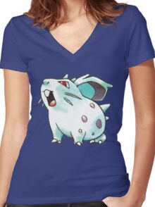 Nidoran Women's Fitted V-Neck T-Shirt