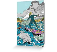 Surfing with the Dolphins Greeting Card