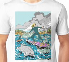 Surfing with the Dolphins Unisex T-Shirt