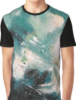 Teal Black Abstract Painting Graphic T-Shirt