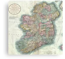 Vintage Map of Ireland (1799)  Canvas Print