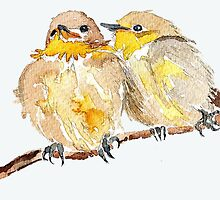 Two little birds sit together by Maree Clarkson